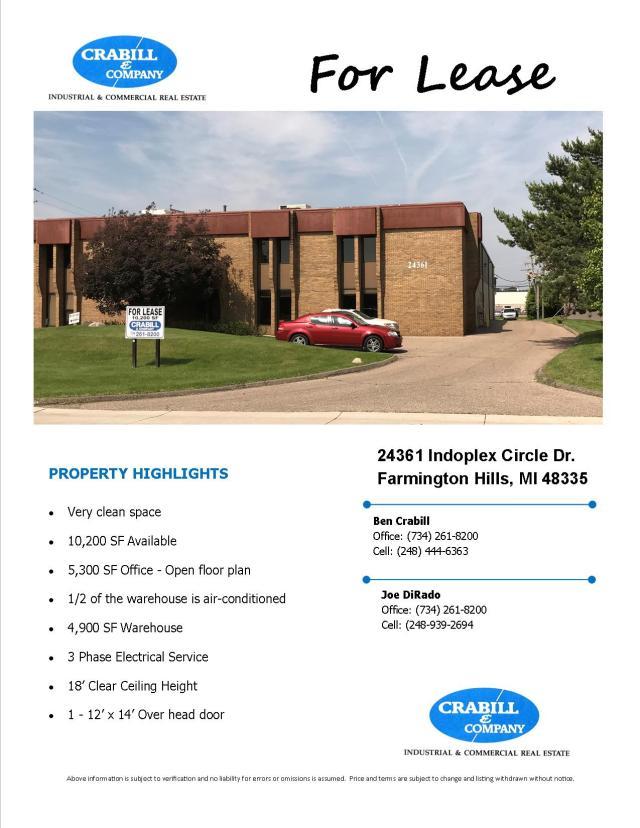 24361 Indoplex Circle Farmington Hills Flyer np