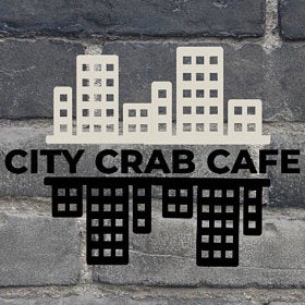 city skyline logo for city crab cafe
