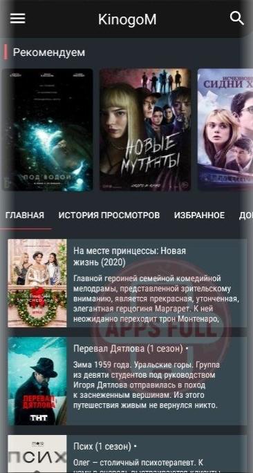 Kinogo M, криншот