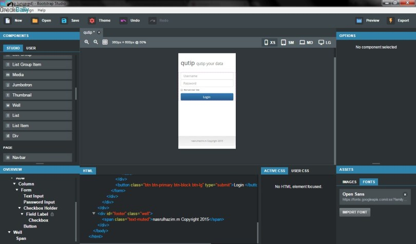 Bootstrap Studio Screenshot