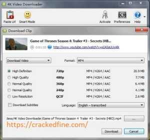 4K Video Downloader 4.11.2 Crack