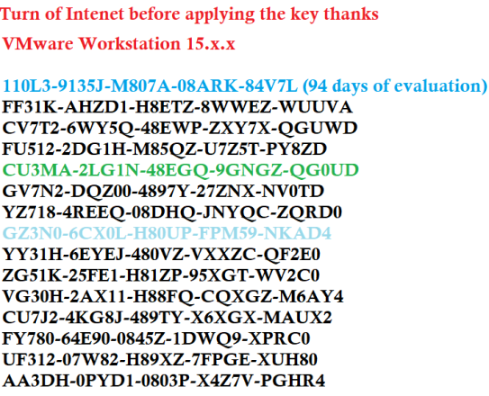 vmwarework station License Key