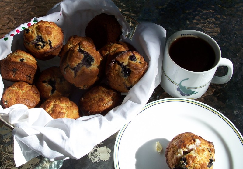 Blueberry muffins and coffee