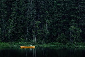 Yellow Canoe and fishing