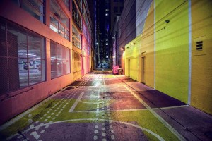 Colourful basketball alley