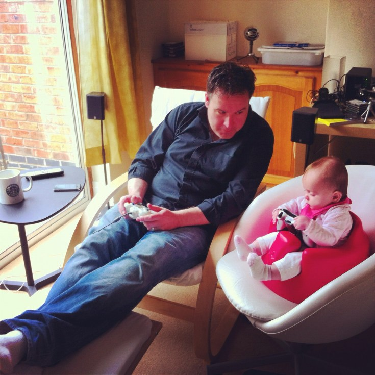 Verona and daddy gaming.