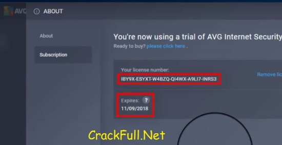 AVG Internet Security 2018 License Number