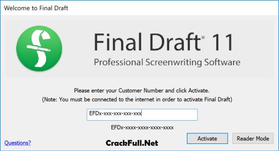 Final Draft 11 Activation Code