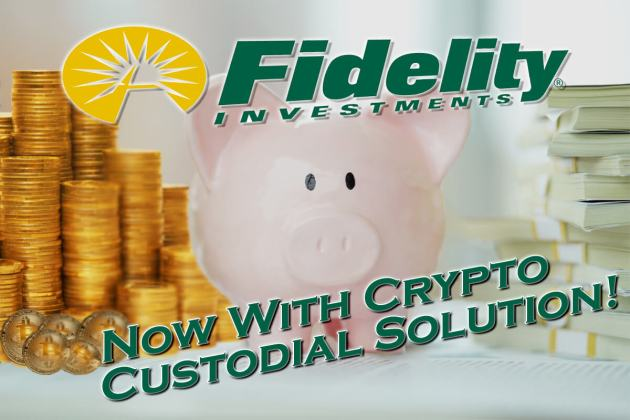 Fidelity Now Crypto Custodial Solution graphic with piggy bank in middle and a stack of USD cash on the right and stack of bitcoin physical coins on left with fidelity logo at top and call out text on bottom