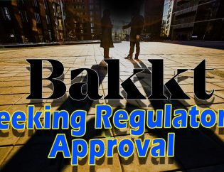 bakkt-regulatory-approval-text-over-long-shadow-of-two-business-men-shaking-hands-city-in-distance