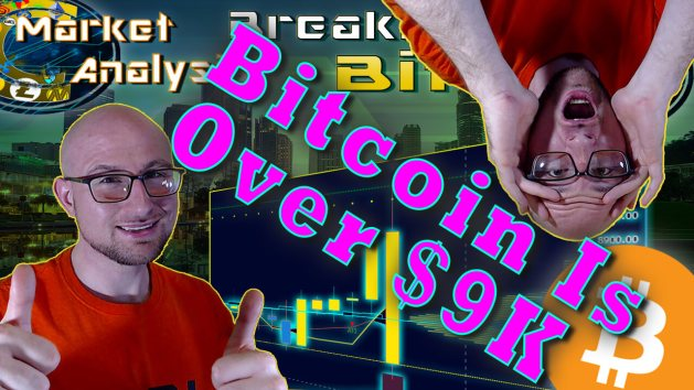 text bitcoin is over $9k in between two thumbs justin and 2 hand son face shocked upside down justin with chart graphic background and bitcoin logo