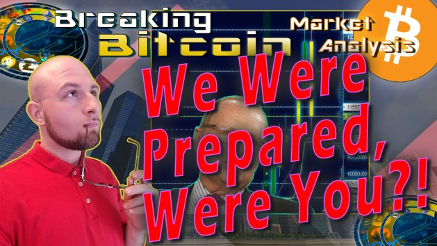 text we were prepared were you? next to justin with glasses in outh thinking off into the distance face and graphic background of sitiy and thomas lee with bitcoin chart booming the crashing and bitcoin logo