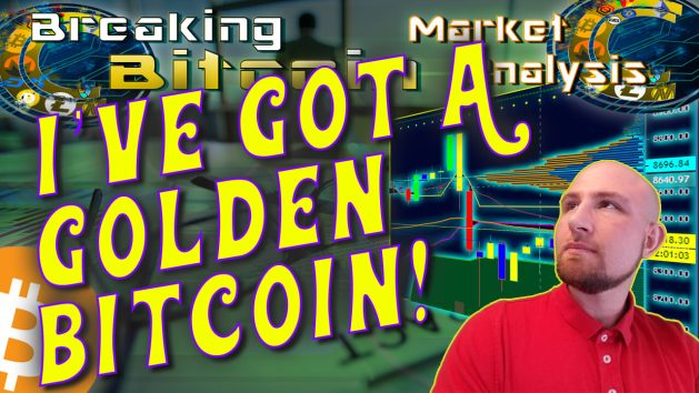text i've got a golden bitcoin in willy wonka font next to justin's face looking up off into the distance with chart graphic background and bitcoin logo