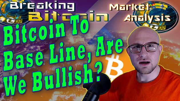 text bitcoin to base line, are we bullish? Next to justin shocked gasping face with plane view of city at night and overlay background graphic with show title at top and bitcoin logo