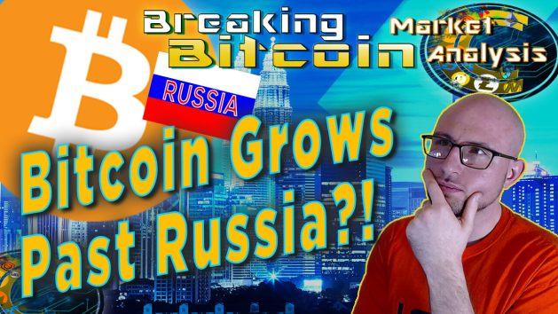 text bitcoin grows past russia?! next to hand on chin questioning thinking face Justin with city landscape overlay graphic background and russia flag small with giant bitcoin logo