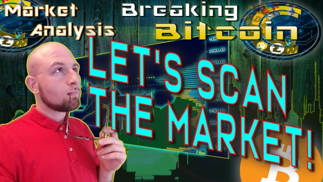 text let's scan the market next to justin thinking looking into the distance with glasses in hand and up to lip with market graphic design background and bitcoin logo