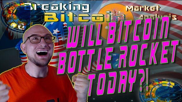 text will bitcoin bottle rocket today! with graphic background bitcoin logo