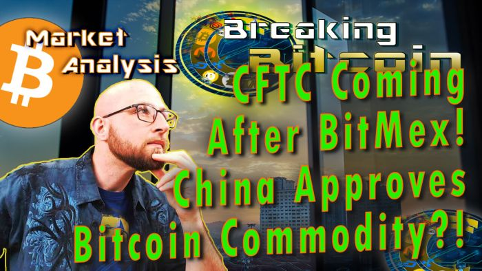 text cftc coming after bitmex! China approves bitcoin commodity next to just with hand on chin think looking at words with skyscraper window graphic back ground and cracking cryptocurrency logo shining through center top of window and bitcoin logo in left top corner