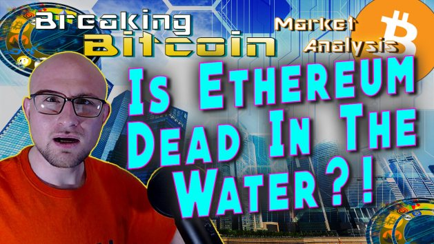 text is ethereum dead in the water next to justin's shocked jaw dropped face with graphic background and bitcoin logo