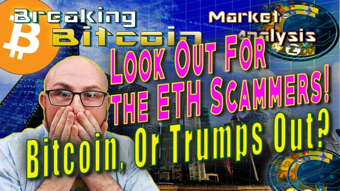 text look out for the eth scammers! under that, Bitcoin or trumps out? next to justin with both hands on faced shocked with city skyscrapers architecture with hacker tech grids overlay background graphic