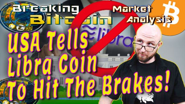 text usa tells libra coin to hit the breaks next to justin looking over glasses skeptical face with white house illustration graphic background and prohibited circle cross over libra coin logo and bitcoin logo