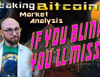 text if you blink, you'll miss it next to justin with well what you think face and background graphic with bitcoin logo