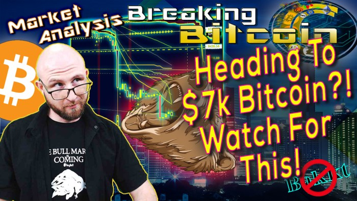text heading to $7k bitcoin? Watch for this! next to justin looking over his glasses in concern question face with graphic background of city scape and bitcoin chart show epic crash of 2019 with a bear graphic catching candles in it's mouth and bitcoin logo