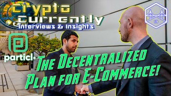 text The decentralized plan for e-commerce in front of justin and kap from particl project shaking hands with four season balcony hotel san fransico background and Crypto Currenetly word logo with particl logo