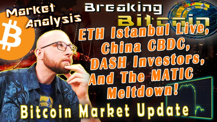 text eth istanbul live, china CBDC, dash investors, and the matic meltdown next to jay hand on chin thinking with graphic city landscape background bitcoin market update and bitcoin logo