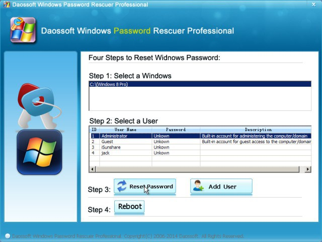 DaosSoft Windows Password Rescuer Personal 6.0.0.1 + Crack