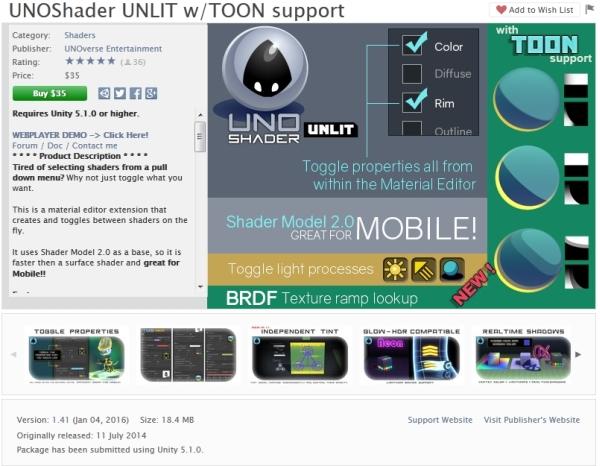 Unity Asset - UNOShader Unlit w Toon v1 5[AKD][ + Patch +