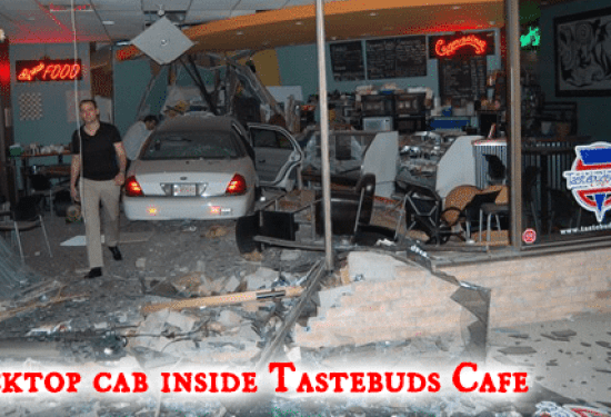 Blacktop Cab Drives Into Tastebuds Cafe.
