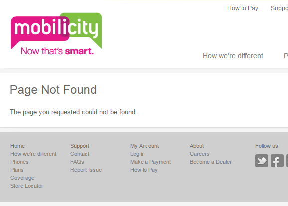 Mobilicity page not found
