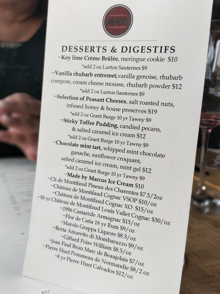 Avec Bistro menu