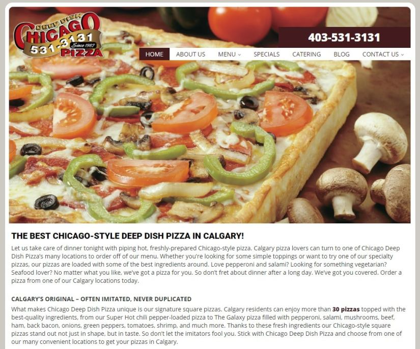 Chicago Deep Dish Pizza Website