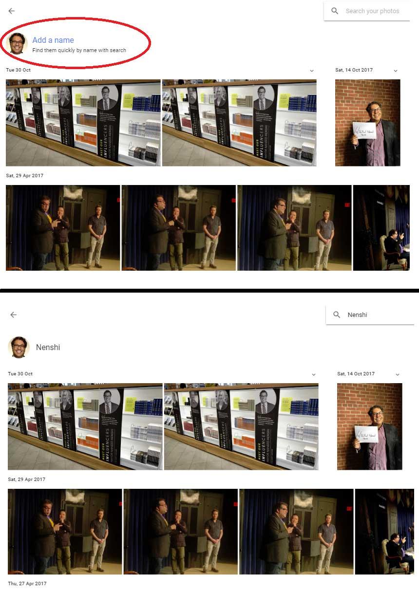 Google Photos group faces
