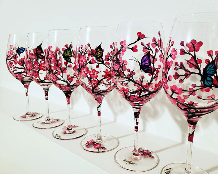 Crazy4Crafts Christmas Market Hand Painted Wine Glasses