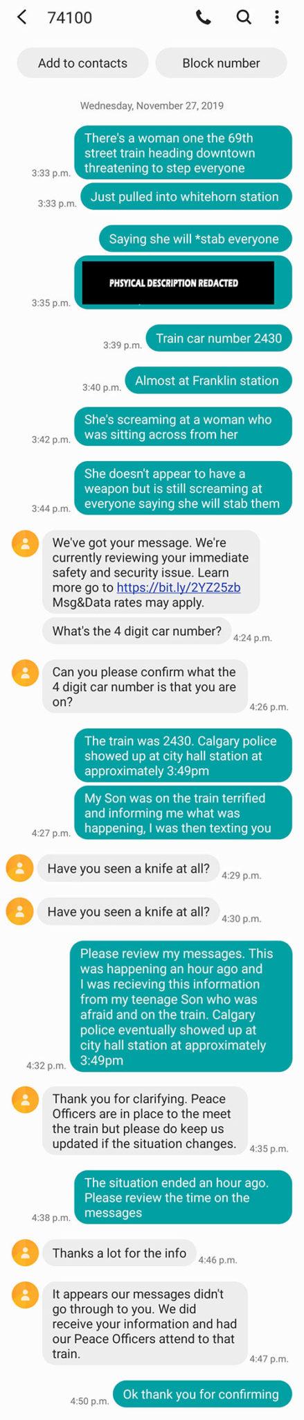 Calgary Transit 74100 response