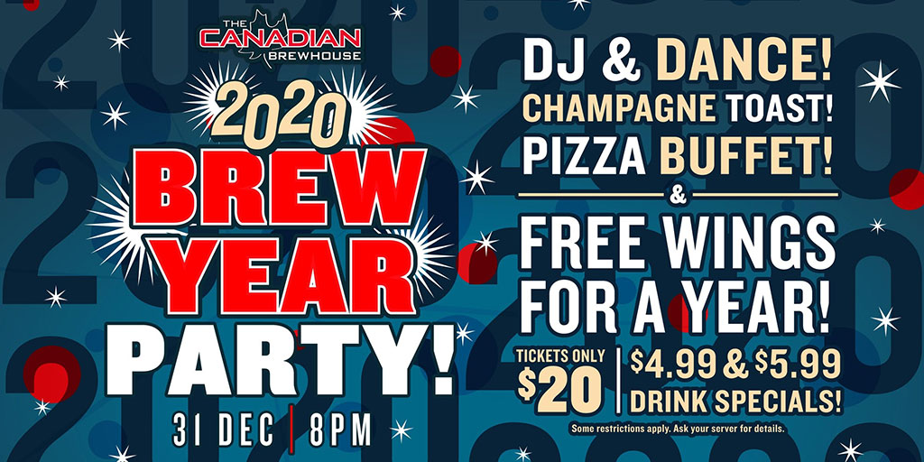 Things To do in Calgary for New Years Eve 2020 Canadian Brewhouse Mahogany Brew Year Party
