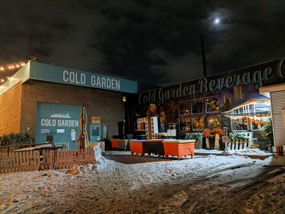 Cold Garden Beverage Company outside at night
