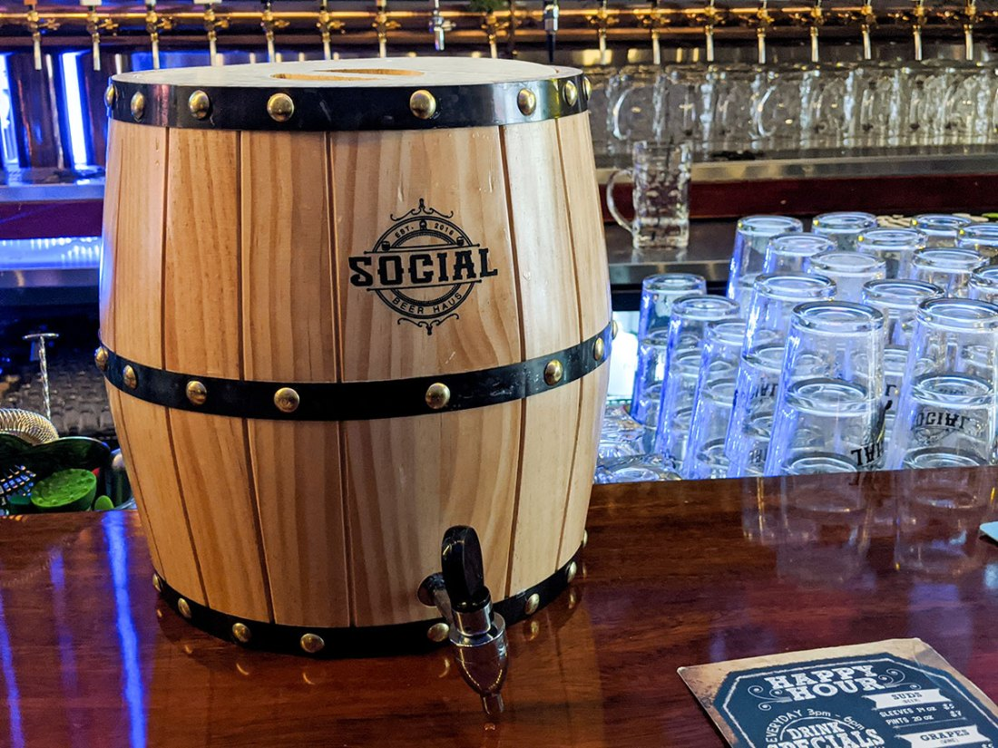 Social Beer Haus Barrel of beer mini size keg