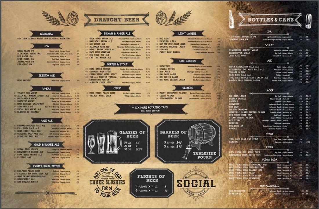 Social Beer Haus Beer Menu