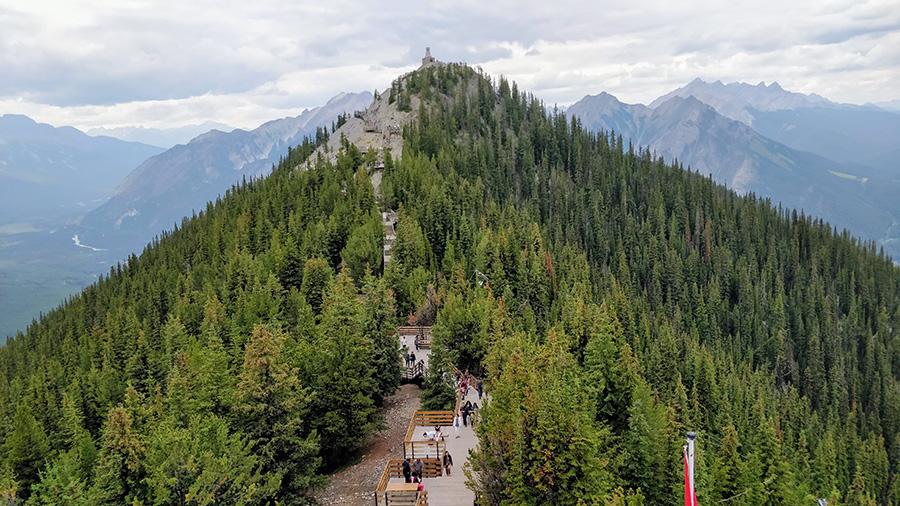 Guide To The Banff Gondola View of Sulphur Mountain range and Sanson's Peak and The skywalk boardwalk