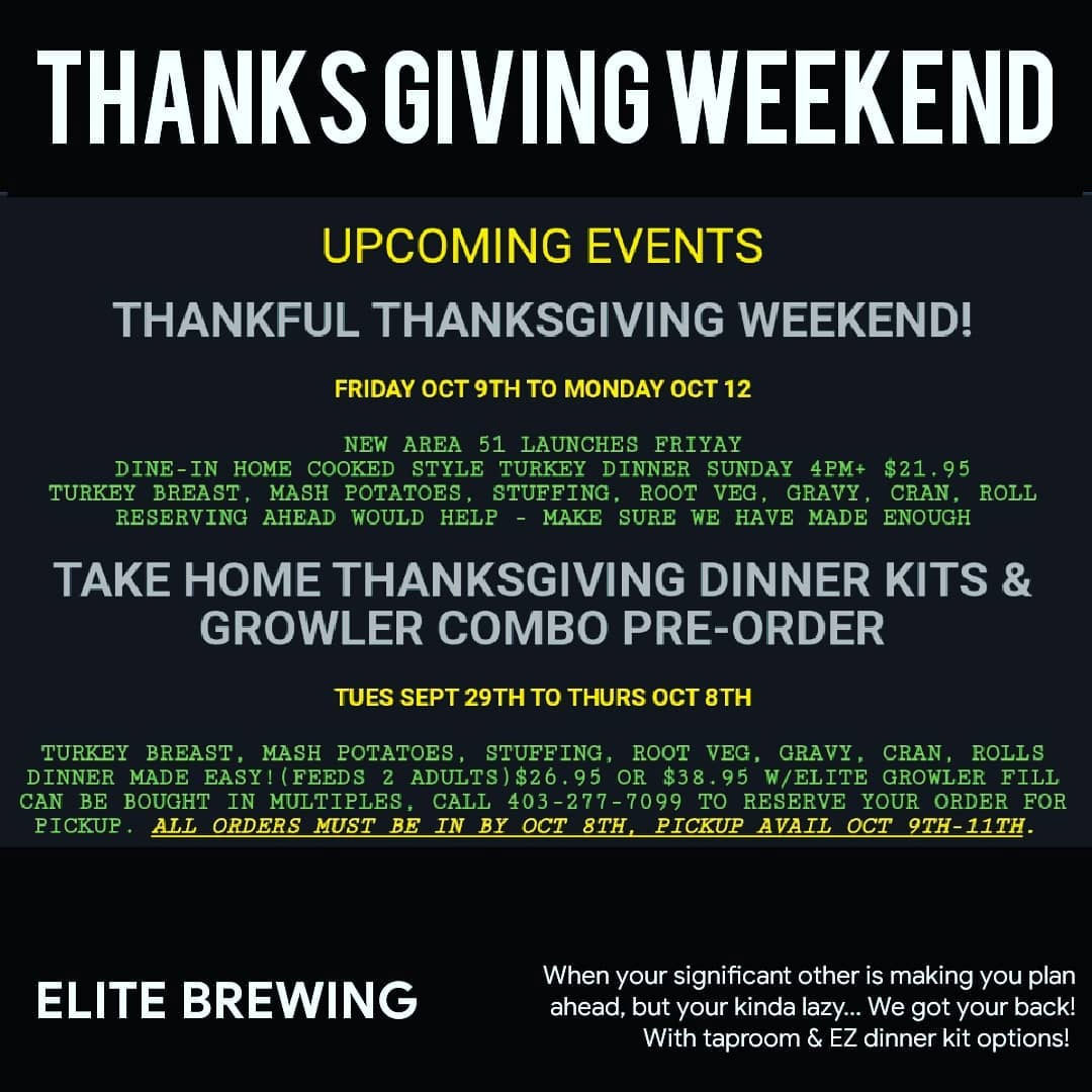 Where To Get Thanksgiving Dinner In Calgary, 2020 Elite Brewery & Cidery Thanksgiving dinner