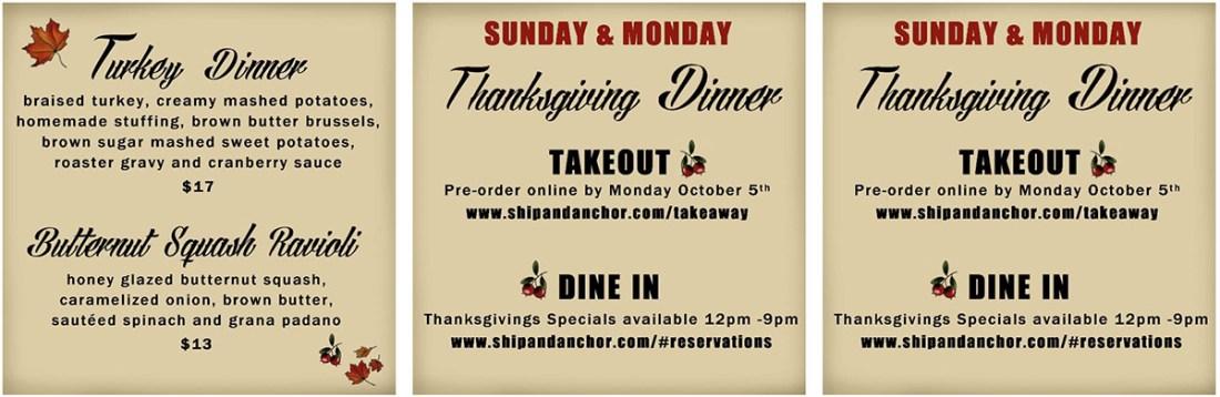 Ship & Anchor Thanksgiving Dinner 2020