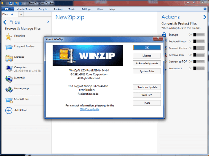 WinZip Pro 23 Build 13431 Full Crack With Keygen 2019 [32-64