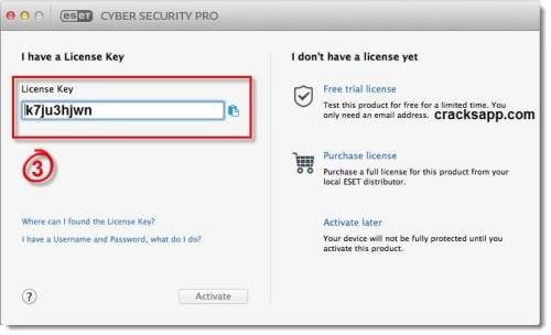 ESET Cyber Security Pro Username and password