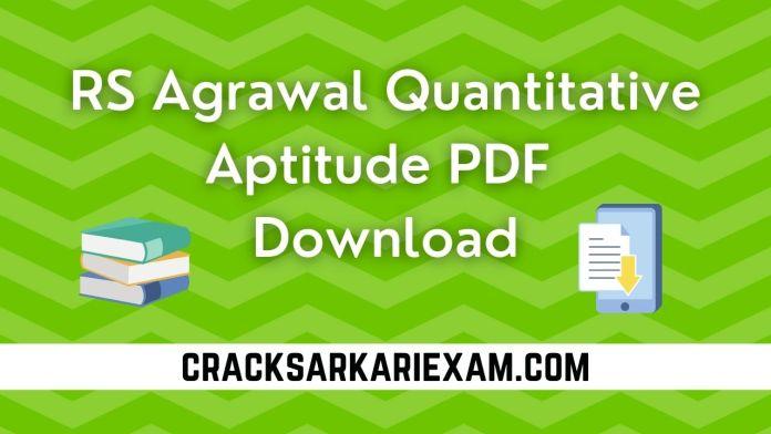 RS Agrawal Quantitative Aptitude PDF Download