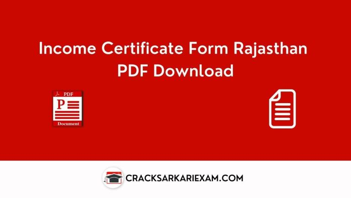 Income Certificate Form Rajasthan PDF Download