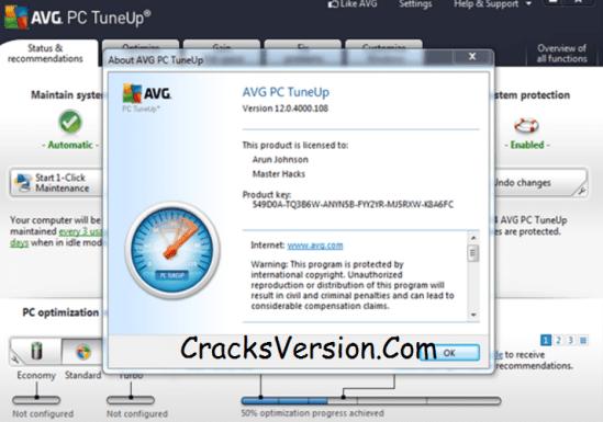 AVG PC TuneUp 2018 Crack + Serial Key Full Version